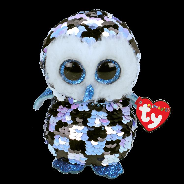 Topper - Reversible Sequin Blue And Black Owl Medium