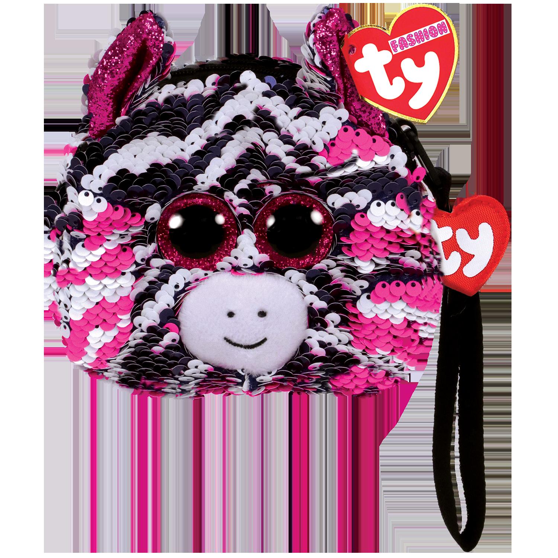 Zoey - Reversible Sequin Zebra Wristlet