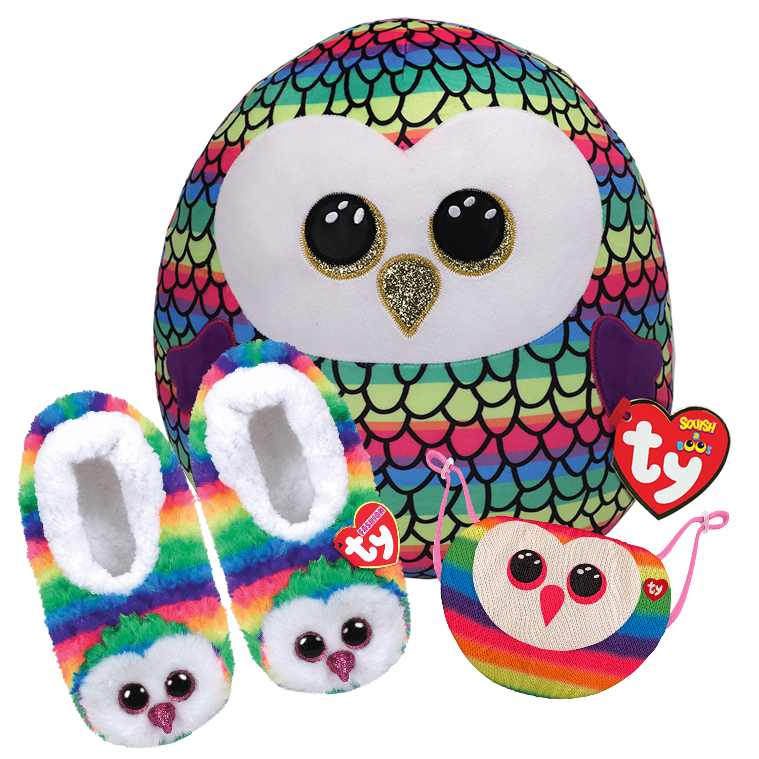 Owl Sleepover Bundle - Squish A Boo, Slippers And Mask
